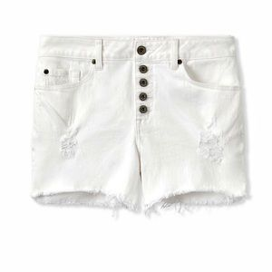 NWT Sz 12 Torrid White Denim ButtonFly Shorts